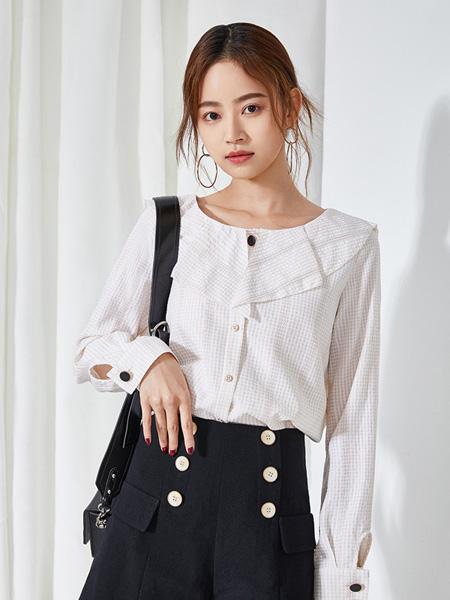 SC女装品牌2020春夏白色雪纺衫