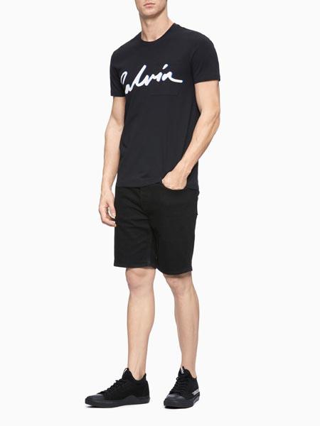 CALVIN KLEIN JEANS国际品牌黑色印花圆领t
