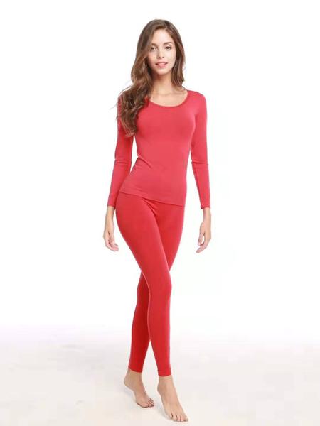 诺黛尔内衣品牌2020春夏圆领红色内衣保暖