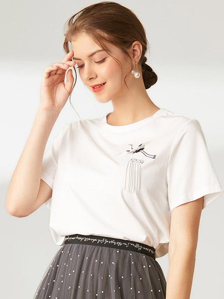 D'modes黛玛诗女装品牌2020春夏白色T恤