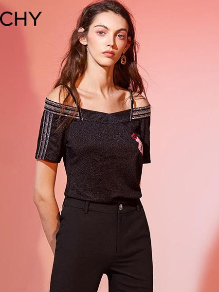 CHICHY女装品牌2020春夏露肩黑色上衣