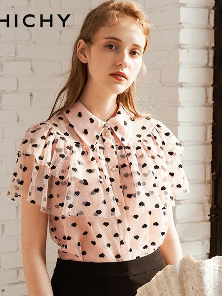 CHICHY女装品牌2020春夏波点粉色雪纺衫
