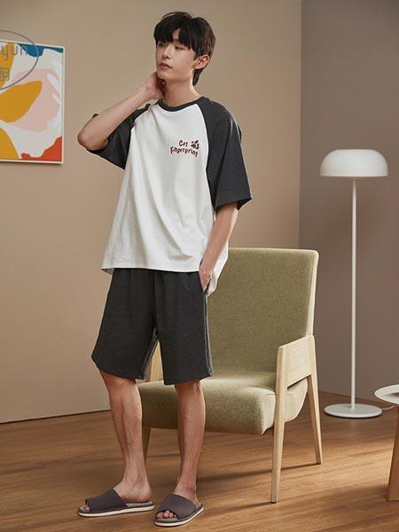 静韵内衣品牌新款男士纯棉睡衣夏季薄款居家短袖宽松简约家居服可出门休闲