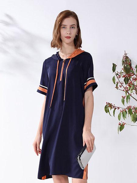 科蒙博卡女装品牌2020春夏宽松休闲连衣裙