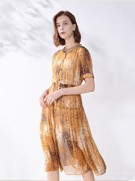 科蒙博卡女装品牌2020春夏雪纺创意图案连衣裙
