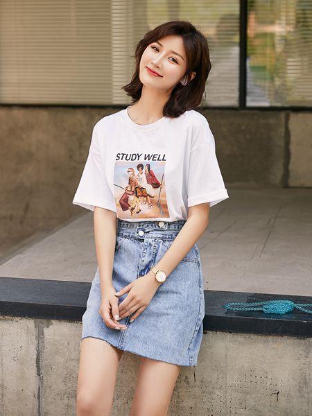 宝洛莎女装品牌2020春夏白色T恤