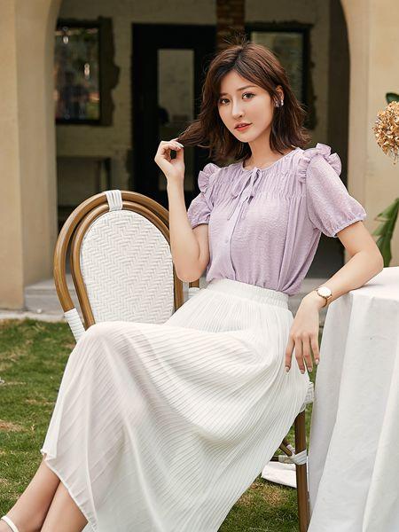 宝洛莎女装品牌2020春夏浅紫色雪纺衫