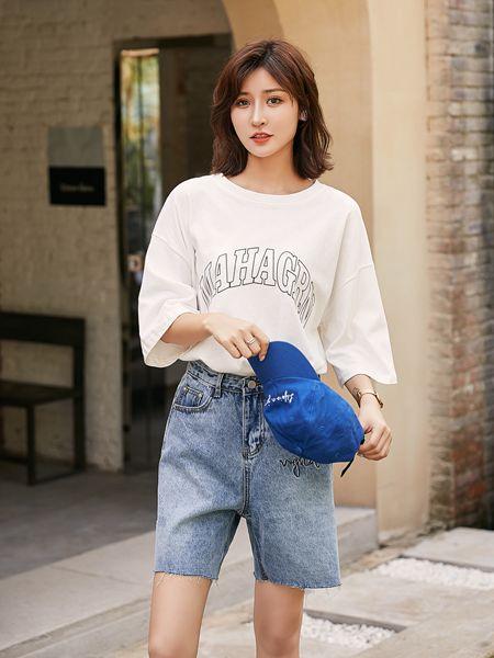 宝洛莎女装品牌2020春夏白色字母T恤