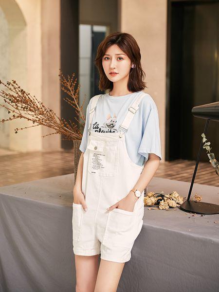 宝洛莎女装品牌2020春夏白色背带裤短裤