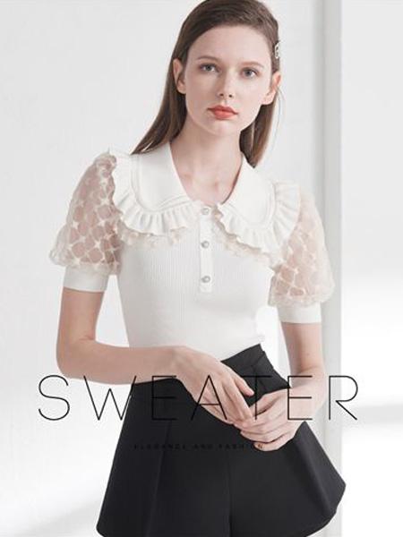艾薇女装品牌2020春夏翻领白色雪纺衫