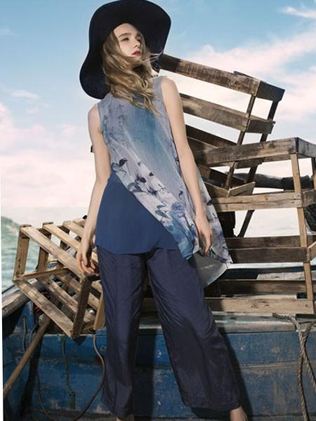 梦奴娇女装品牌2020春夏灰蓝色雪纺衫