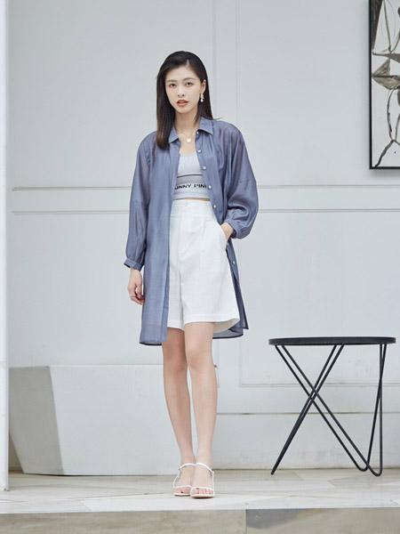 尼赫菲女装品牌2020春夏蓝色薄款衬衫长款外套