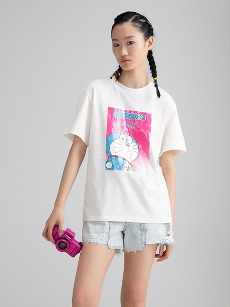 CRZ潮牌女装品牌2020春夏圆领白色T恤叮当猫