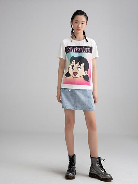 CRZ潮牌女装品牌2020春夏叮当猫美眉T恤白色