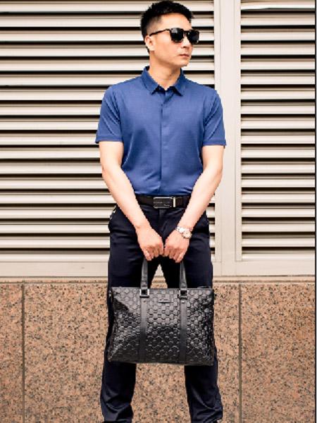 萨卡罗S.ALCAR男装品牌2020春夏深蓝色衬衫
