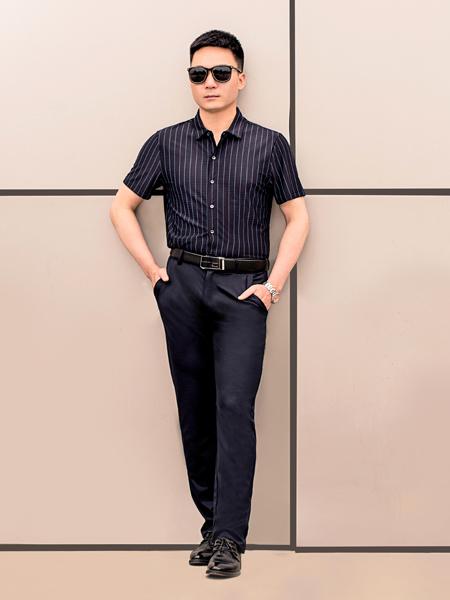 萨卡罗S.ALCAR男装品牌2020春夏竖纹黑色衬衫