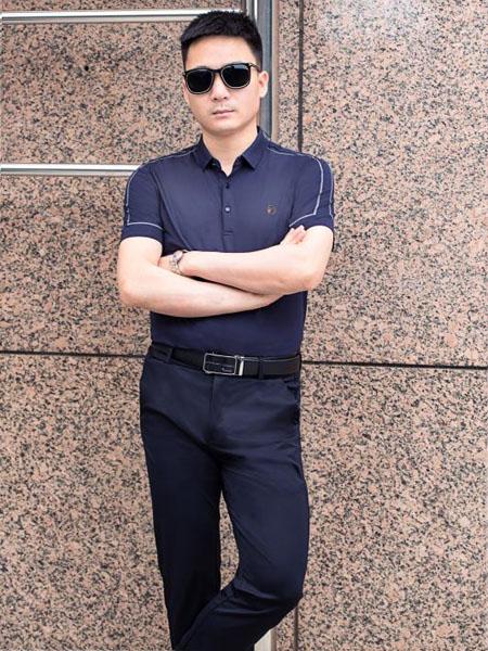 萨卡罗S.ALCAR男装品牌2020春夏藏蓝色T恤