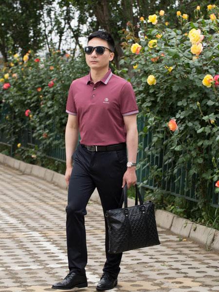 萨卡罗S.ALCAR男装品牌2020春夏深粉色T恤
