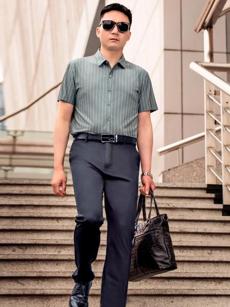 萨卡罗S.ALCAR男装品牌2020春夏浅青色竖纹衬衫