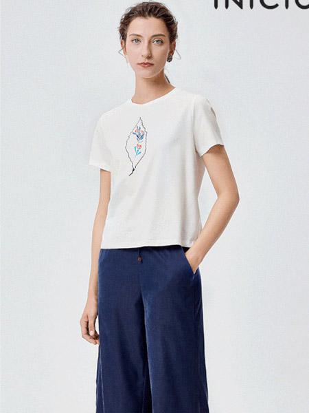 印象草原女装品牌2020春夏白色T恤简雅深蓝阔腿裤