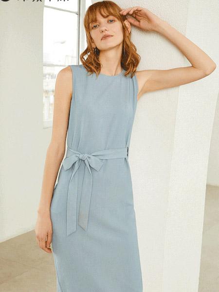 印象草原女装品牌2020春夏蓝色收腰连衣裙直筒