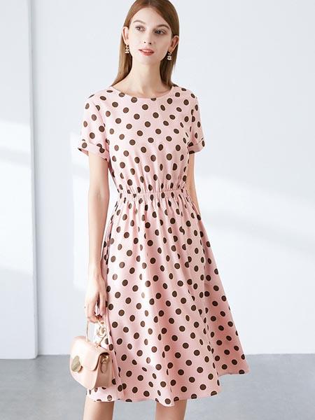 ONEBUYE晚白女装品牌2020春夏知性时尚波点连衣裙