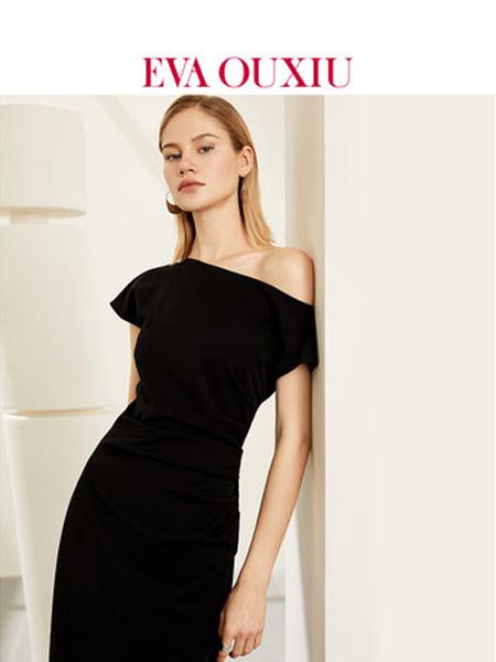 伊华·欧秀女装品牌2020春夏轻熟风洋气一字肩斜肩中长收腰小黑裙子