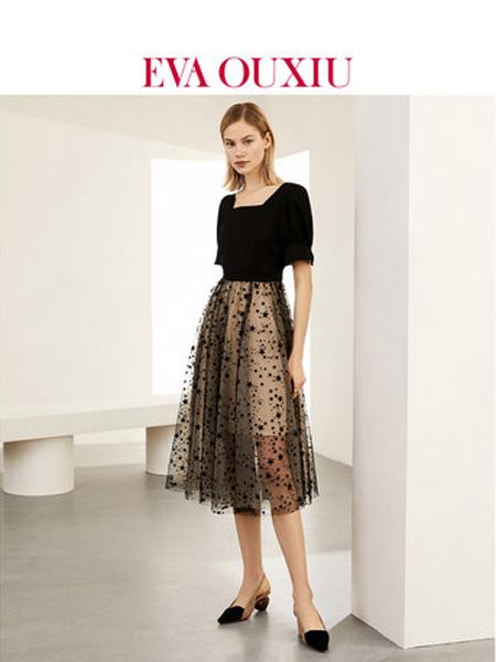 伊华·欧秀女装品牌2020春夏法式小众连衣裙方领高腰波点中长裙