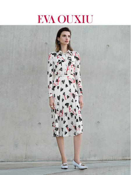 伊华·欧秀女装品牌2020春夏法式印花长袖雪纺连衣裙优雅女神范红色