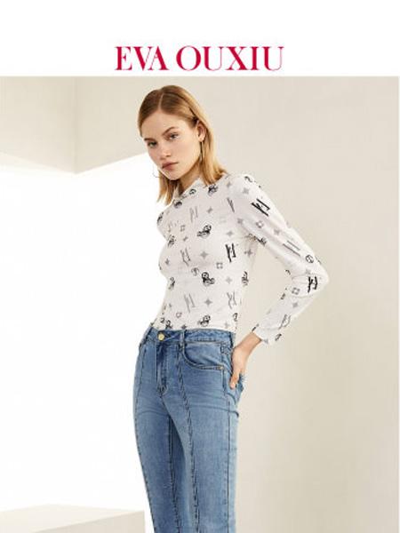 伊华·欧秀女装品牌2020春夏女鼠年印花t恤女长袖内搭女薄款打底衫