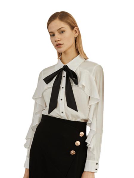 伊华·欧秀女装品牌2020春夏气质简约纯色衬衫宽松纽扣系带通勤衬衣