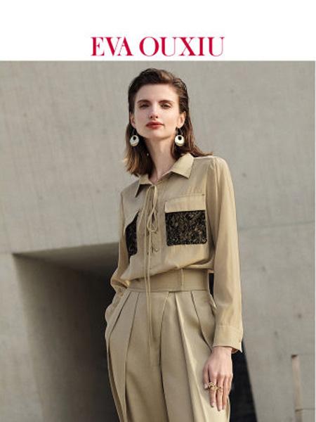 伊华·欧秀女装品牌2020春夏个性蕾丝口袋衬衫交叉绑带气质上衣