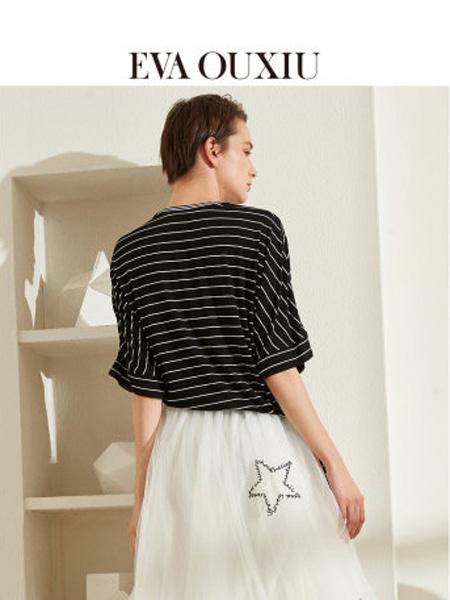 伊华·欧秀女装品牌2020春夏字母条纹宽松套头T恤绑带设计感短袖女ins潮