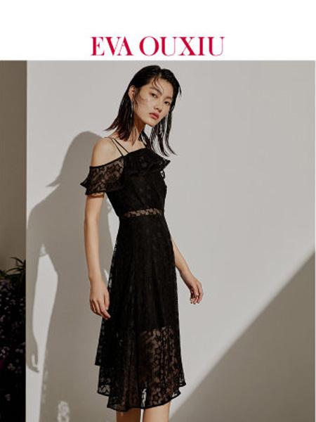 伊华·欧秀女装品牌2020春夏斜肩吊带连衣裙不规则裙摆高腰显瘦短裙