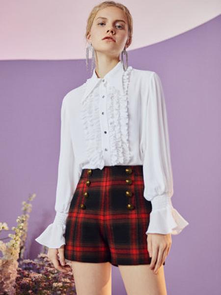 伊华·欧秀女装品牌2020春夏复古雪纺衫木耳边宫廷气质长袖简约衬衫