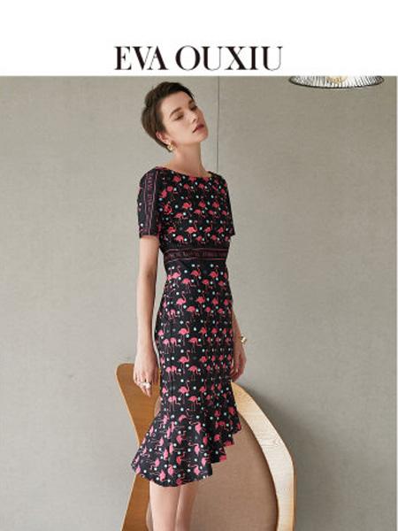 伊华·欧秀女装品牌2020春夏女装气质通勤收腰显瘦修身包臀印花鱼尾连衣裙