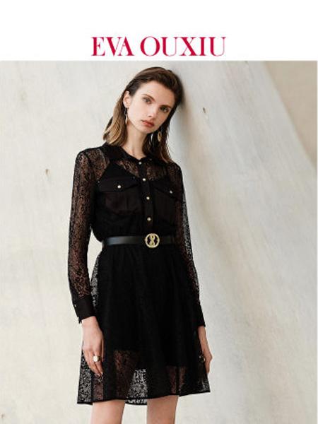 伊华·欧秀女装品牌2020春夏法式气质小黑裙复古高腰蕾丝衬衫连衣裙