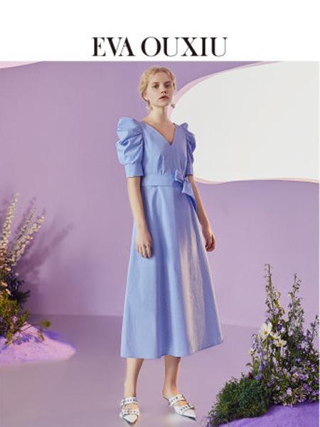 伊华·欧秀女装品牌2020春夏法式浪漫V领高腰连衣裙复古中长裙子
