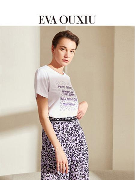 伊华·欧秀女装品牌2020春夏镶钻字母棉质短袖T恤圆领打底上衣合身