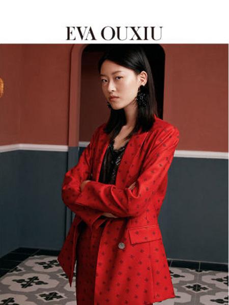 伊华·欧秀女装品牌2020春夏新款时尚西外套双排扣口袋印花红西服