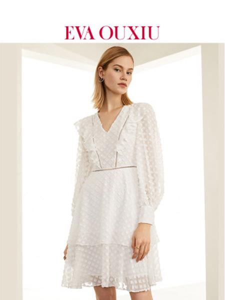 伊华·欧秀女装品牌2020春夏女装白色长袖连衣裙显瘦气质雪纺裙子