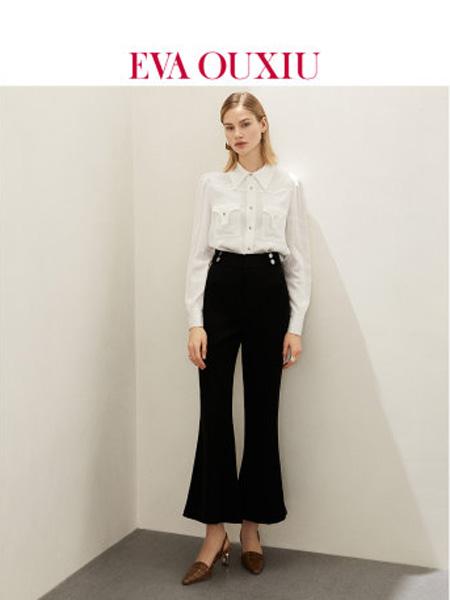 伊华·欧秀女装品牌2020春夏通勤风黑色喇叭裤百搭显瘦高腰休闲长裤子