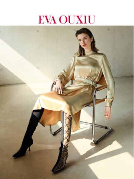 伊华·欧秀女装品牌2020春夏简约时尚连衣裙人丝舒适缎面复古中长裙