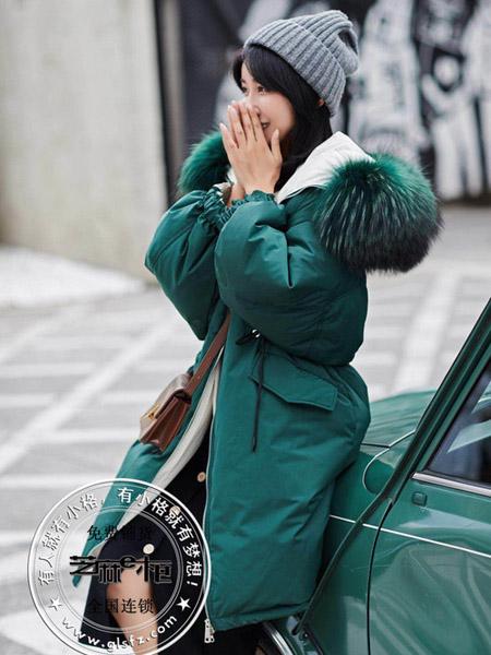 格蕾斯女装品牌2020秋冬绿色长款棉衣外套