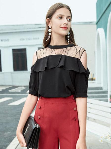 郁香菲女装品牌2020春夏蕾丝拼接上衣女圆领荷叶边设计感女人味小衫
