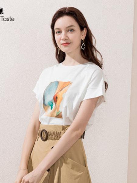 郁香菲女装品牌2020春夏创意胶印T恤短袖圆领百搭简约套头上衣