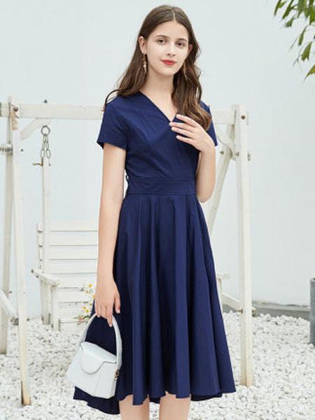 郁香菲女装品牌2020春夏V领收腰连衣裙女不规则下摆中长款气质女裙