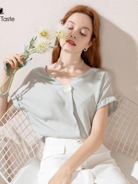 郁香菲女装品牌2020春夏雪纺衬衫女设计感小众夏季短袖透气V领上衣