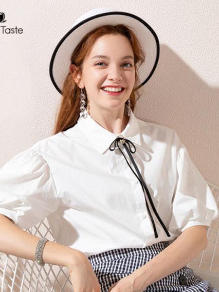 郁香菲女装品牌2020春夏复古灯笼袖设计感中袖衬衫女可拆卸领结衬衣