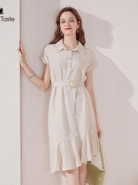 郁香菲女装品牌2020春夏方领不规则鱼尾连衣裙收腰显瘦减龄中长女裙
